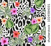 seamless pattern with leopard... | Shutterstock .eps vector #1024584031