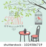 vector spring landscape with... | Shutterstock .eps vector #1024586719