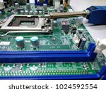 close up of microcircuit with... | Shutterstock . vector #1024592554