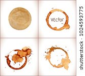 coffee stain set. vector coffee ... | Shutterstock .eps vector #1024593775