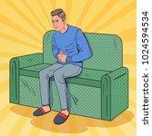 pop art unhappy man suffering... | Shutterstock .eps vector #1024594534