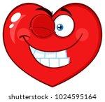 smiling red heart cartoon emoji ... | Shutterstock .eps vector #1024595164