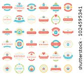 happy birthday badges and... | Shutterstock .eps vector #1024595341