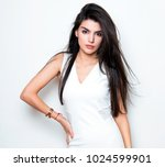 beautiful young woman with long ... | Shutterstock . vector #1024599901