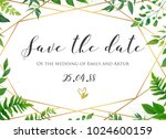 Stock vector vector botanical wedding floral save the date invite card elegant modern design with natural 1024600159