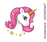 cute magical unicorn. vector... | Shutterstock .eps vector #1024602667