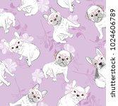 dog french bulldog. heart... | Shutterstock .eps vector #1024606789