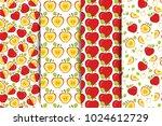 set of four seamless patterns... | Shutterstock .eps vector #1024612729