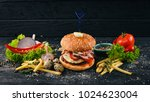 beef burger with quail eggs and ...
