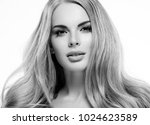 beautiful woman face close up... | Shutterstock . vector #1024623589