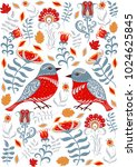 birds and flowers. floral... | Shutterstock .eps vector #1024625845