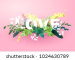 integrated love lettering on a... | Shutterstock .eps vector #1024630789