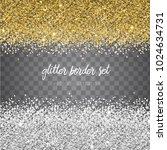 vector shiny gold and silver... | Shutterstock .eps vector #1024634731
