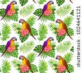 seamless tropical floral... | Shutterstock . vector #1024641121