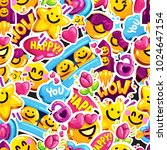 smiley faces sticker emoji love ... | Shutterstock .eps vector #1024647154