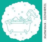girl in a bath with foam.... | Shutterstock .eps vector #1024648921