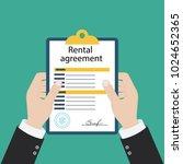 rental agreement form contract. ... | Shutterstock .eps vector #1024652365