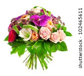 Stock photo bouquet of rose paeonia and orchid 102465611