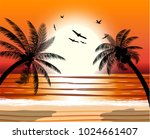silhouette of palm tree on... | Shutterstock .eps vector #1024661407