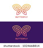 Stock vector stylized geometric butterfly logo design on white and dark purple background elegant vector 1024668814