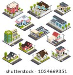 isometric city buildings with... | Shutterstock .eps vector #1024669351