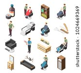 barbershop isometric icons with ... | Shutterstock .eps vector #1024669369