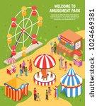 amusement park isometric poster ... | Shutterstock .eps vector #1024669381