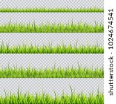 grass border collection. vector ... | Shutterstock .eps vector #1024674541