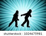 kids ice skating silhouettes on ... | Shutterstock .eps vector #1024675981