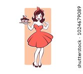 beauty retro pinup cartoon girl ... | Shutterstock .eps vector #1024679089