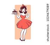 beauty retro pinup cartoon girl ... | Shutterstock .eps vector #1024679089