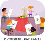 illustration of stickman kids... | Shutterstock .eps vector #1024682767
