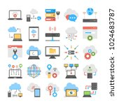 collection of cloud computing... | Shutterstock .eps vector #1024683787