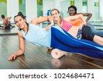 beautiful fit woman smiling... | Shutterstock . vector #1024684471