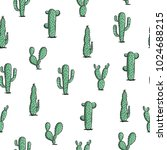 seamless cactus pattern.... | Shutterstock .eps vector #1024688215