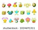childish alien fantastic alive... | Shutterstock .eps vector #1024691311