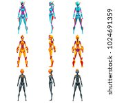 robot costumes set  superhero... | Shutterstock .eps vector #1024691359