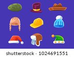 different types of hats and... | Shutterstock .eps vector #1024691551
