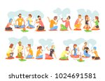 young hipsters smoking hookah... | Shutterstock .eps vector #1024691581