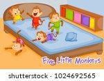 five little monkeys  kids... | Shutterstock .eps vector #1024692565