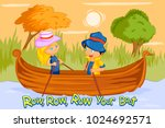 row row row your boat  kids... | Shutterstock .eps vector #1024692571