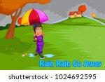 rain rain go away  kids english ... | Shutterstock .eps vector #1024692595