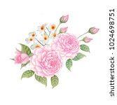 watercolor bouquet of pink... | Shutterstock . vector #1024698751