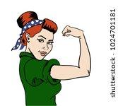 american woman. housewife. girl ... | Shutterstock .eps vector #1024701181