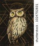 owl on sacred geometry... | Shutterstock .eps vector #1024702831