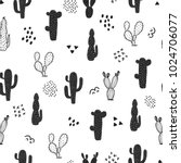 seamless cactus pattern.... | Shutterstock .eps vector #1024706077