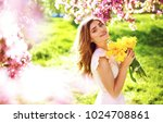 spring style. beautiful young... | Shutterstock . vector #1024708861