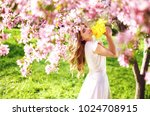 spring style. beautiful young...   Shutterstock . vector #1024708915