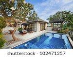 happy in luxury villa  garden... | Shutterstock . vector #102471257