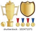 gold football trophy  shield... | Shutterstock .eps vector #102471371